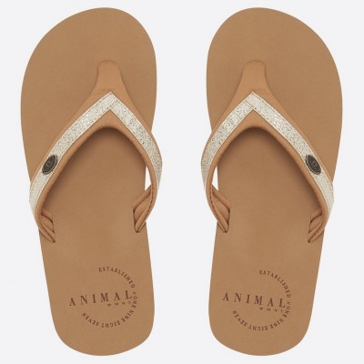 Animal Ladies Swish Slim Flip Flop - Toffee Apple Brown