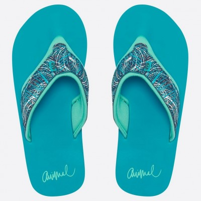 Animal Ladies Swish Upper Aop Flip Flops - Capri Blue