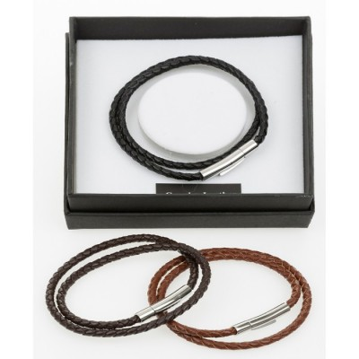 Leather Cross Over Bracelet