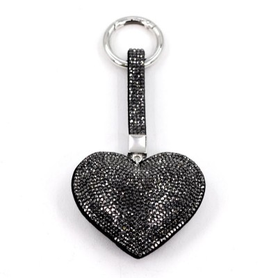 Crystal Studded Heart Keyring