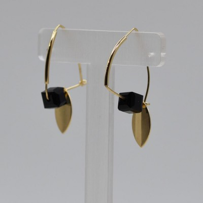 Gold Cube Bead And Disc Drop Earrings
