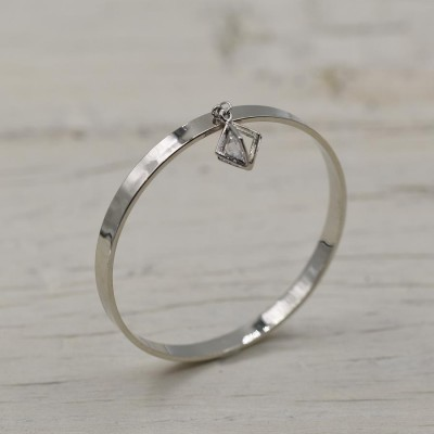 Delicate Full Bangle With Caged Crystal Dropper