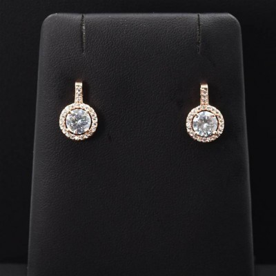 Crystal Stud Earrings With Drop Rose Gold