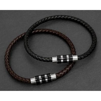 Stripe Clasp Leather Bracelet