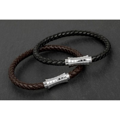 Indent Clasp Leather Bracelet