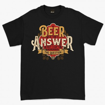Oldies Club 'Beer Is The Answer' T-shirt - Black