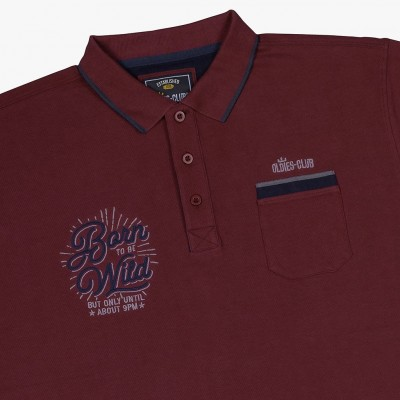 Oldies Club 'Born To Be Wild' Polo Shirt - Burgundy