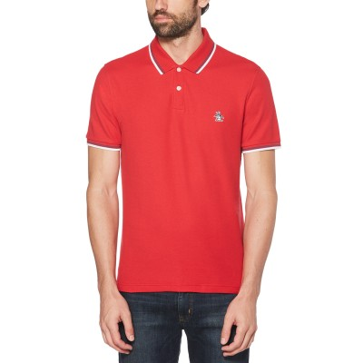 Penguin Logo Tipped Polo Shirt - Lipstick Red