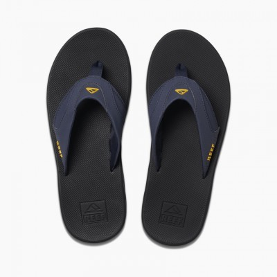 Reef Fanning Flip Flops - Navy/Yellow