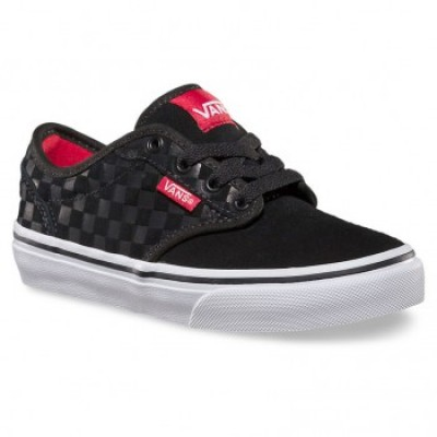 Boys Atwood (suede checkers) Black Red Vans