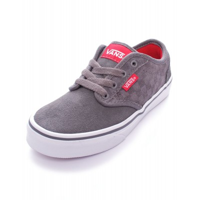 Boys Atwood (suede checkers) Pewter/ White Vans