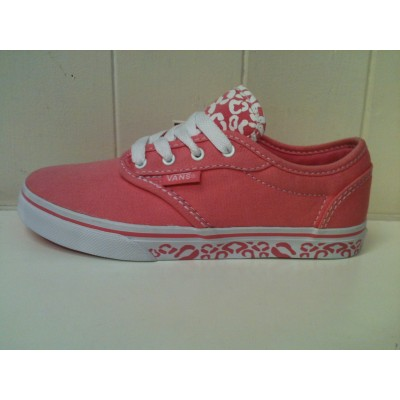 Girls Atwood (Cheetah) Pink Lemonade/White Vans