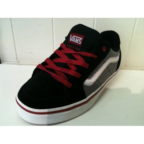 5a2ac16671a4 Boys Transistor (buck textile) Black Red Vans